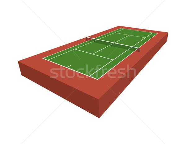 3D Tennis Court Illustration Stock photo © enterlinedesign