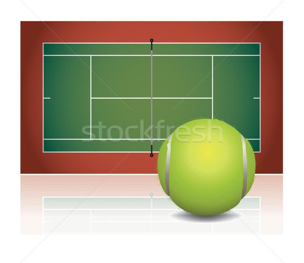 Realista quadra de tênis ilustração bola bola de tênis vetor Foto stock © enterlinedesign