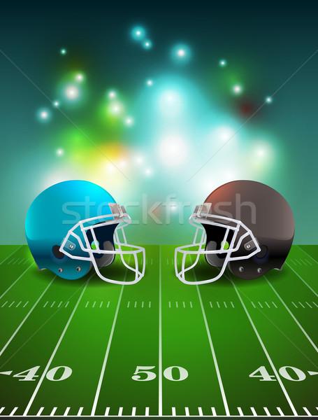 Americano fútbol cascos campo estadio ilustración Foto stock © enterlinedesign