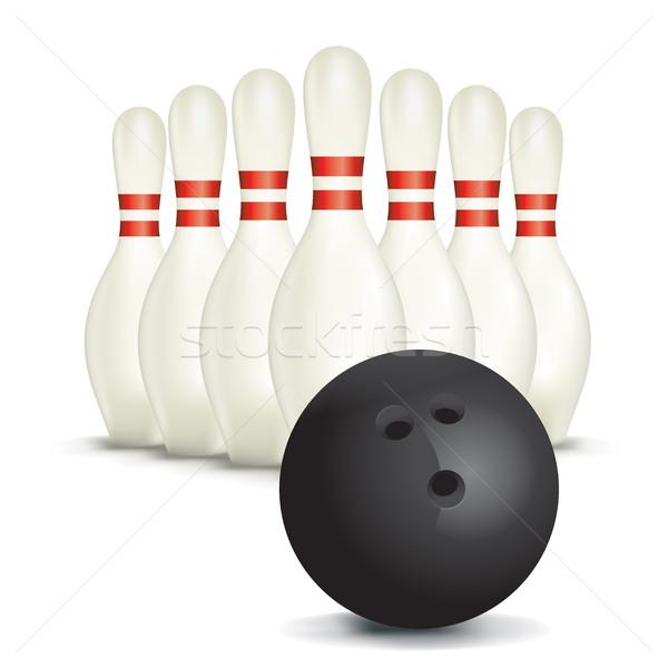 Bowlingkugel isoliert weiß Illustration Bowling Ball Stock foto © enterlinedesign