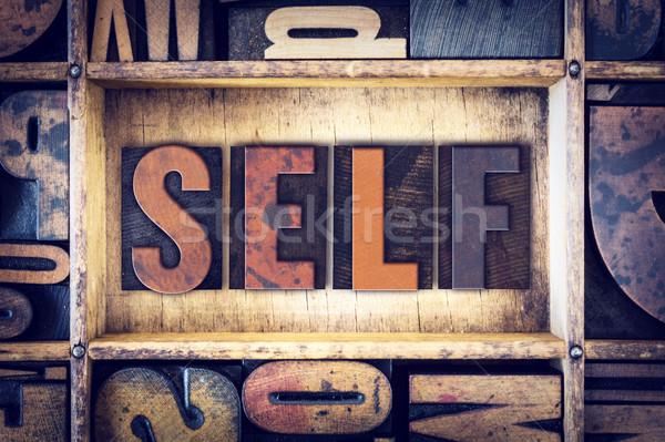 Self Concept Letterpress Type Stock photo © enterlinedesign