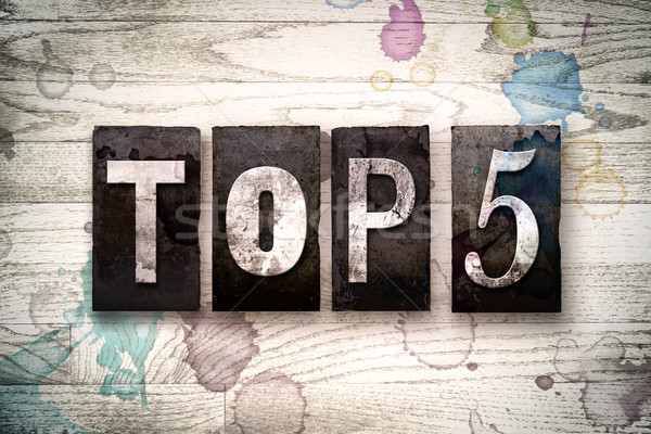 Top 5 Concept Metal Letterpress Type Stock photo © enterlinedesign
