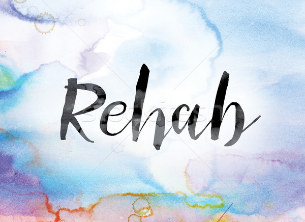 Rehab Colorful Watercolor and Ink Word Art Stock photo © enterlinedesign