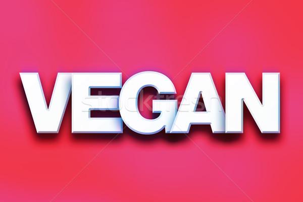 Vegan renkli kelime sanat yazılı beyaz Stok fotoğraf © enterlinedesign