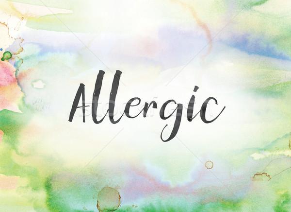 Alérgico aquarela nosso pintura palavra escrito Foto stock © enterlinedesign