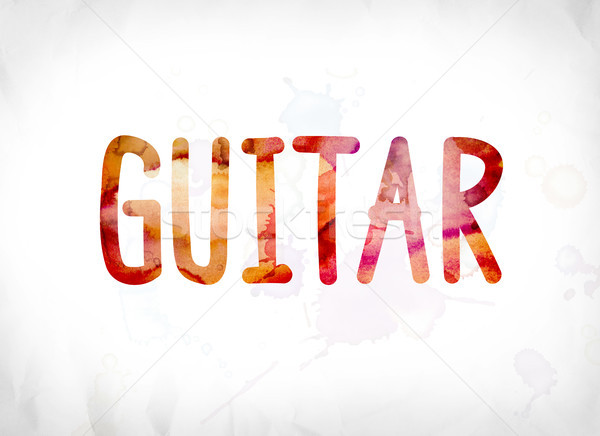 Guitar Concept Painted Watercolor Word Art Stock photo © enterlinedesign