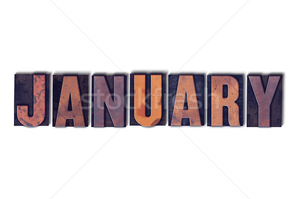January Concept Isolated Letterpress Word Stock photo © enterlinedesign