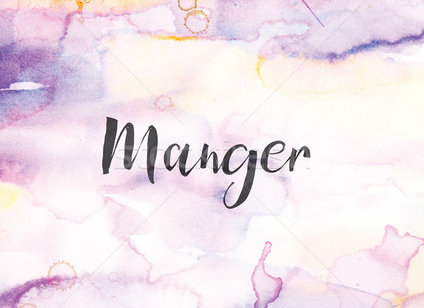 Manger Concept Watercolor and Ink Painting Stock photo © enterlinedesign