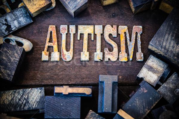 Autizmus fa rozsdás fém levelek szó Stock fotó © enterlinedesign