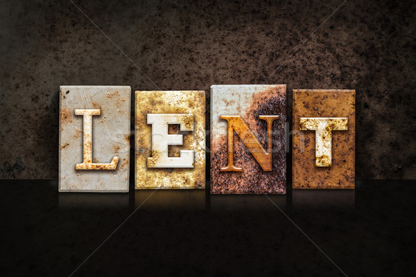 Lent Letterpress Concept on Dark Background Stock photo © enterlinedesign