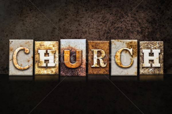 Сток-фото: Церкви · темно · слово · написанный · ржавые