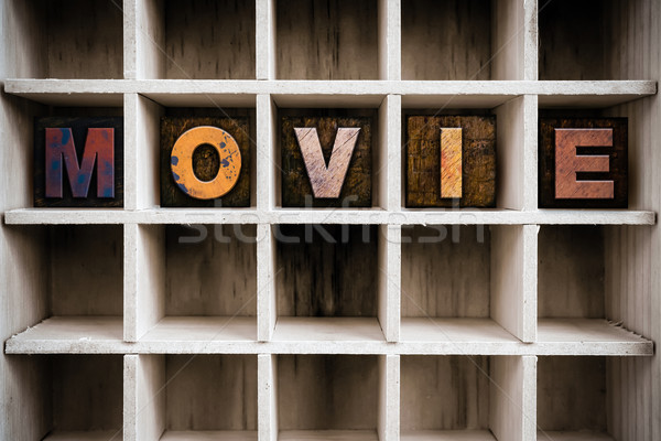 Movie Concept Wooden Letterpress Type in Drawer Stock photo © enterlinedesign