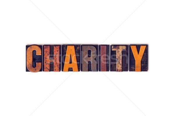 Caridad aislado tipo palabra escrito Foto stock © enterlinedesign