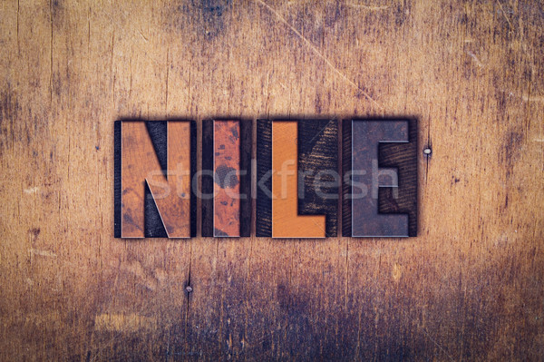 Nile Concept Wooden Letterpress Type Stock photo © enterlinedesign
