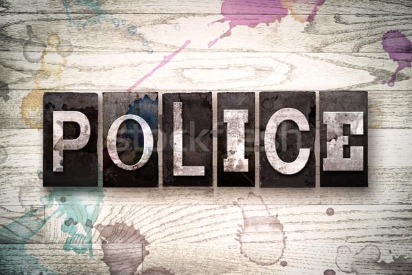 Politie metaal type woord geschreven Stockfoto © enterlinedesign