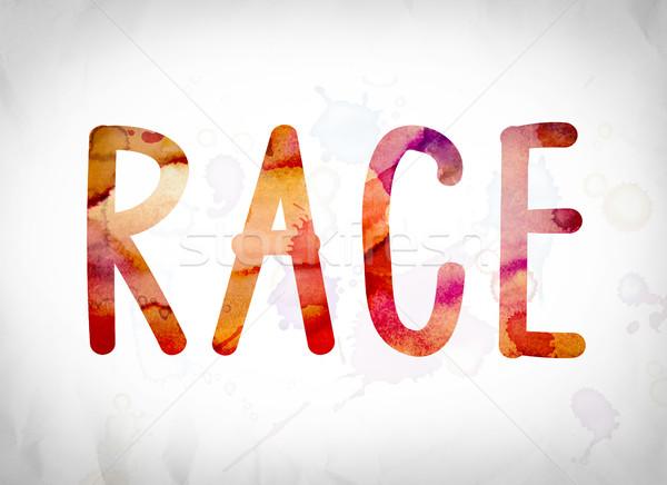 Race Concept Watercolor Word Art Stock photo © enterlinedesign