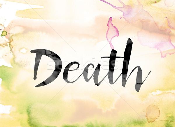 Dood kleurrijk aquarel inkt woord kunst Stockfoto © enterlinedesign