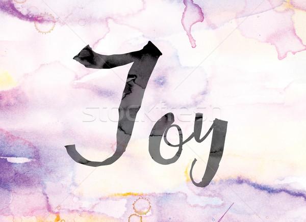 ストックフォト: 喜び · カラフル · 水彩画 · インク · 言葉 · 芸術