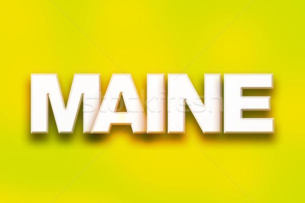 Stockfoto: Maine · kleurrijk · woord · kunst · geschreven · witte