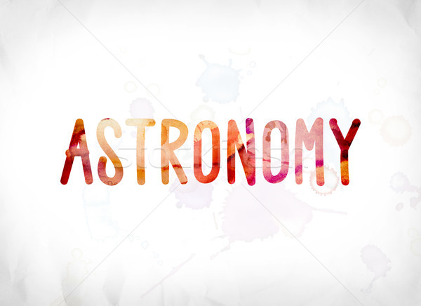Astronomie peint couleur pour aquarelle mot art coloré Photo stock © enterlinedesign
