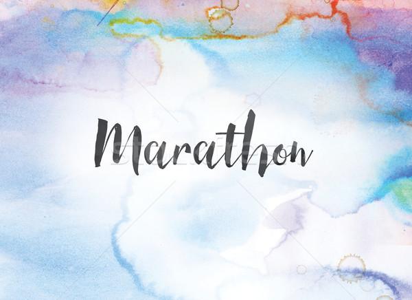 Maraton vízfesték tinta festmény szó írott Stock fotó © enterlinedesign
