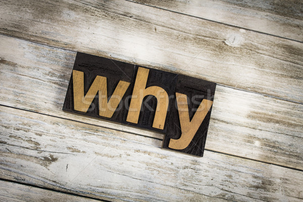 Why Letterpress Word on Wooden Background Stock photo © enterlinedesign