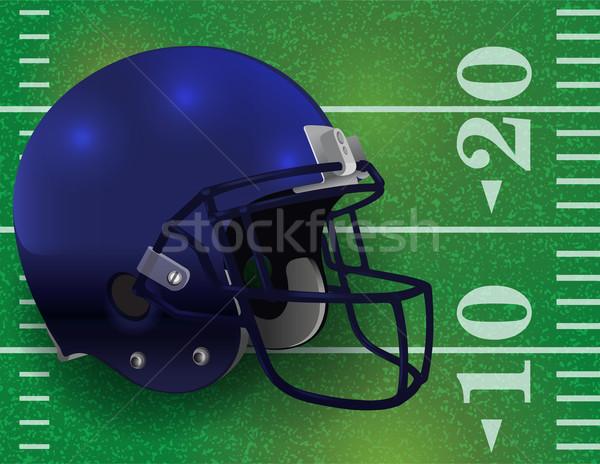 Stock photo: American Football Helmet on Field Illustration