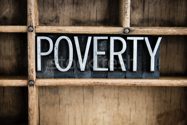Poverty Concept Metal Letterpress Word in Drawer Stock photo © enterlinedesign