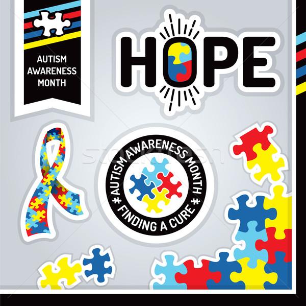 Autismo consciência projeto elementos ilustração Foto stock © enterlinedesign
