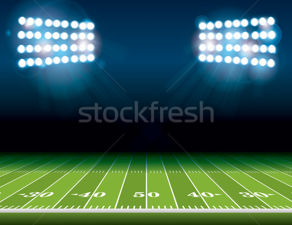 American Football Field with Stadium Lights Stock photo © enterlinedesign