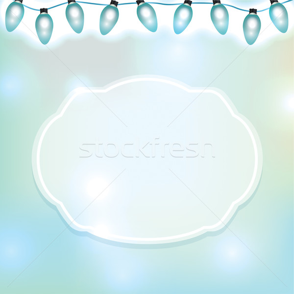 String of Blue Lights and Emblem Stock photo © enterlinedesign
