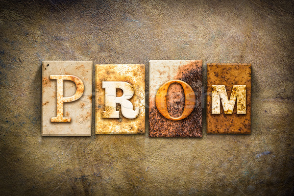 Prom couro palavra escrito enferrujado Foto stock © enterlinedesign