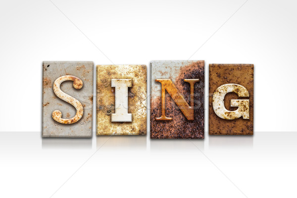 Sing Letterpress Concept Isolated on White Stock photo © enterlinedesign