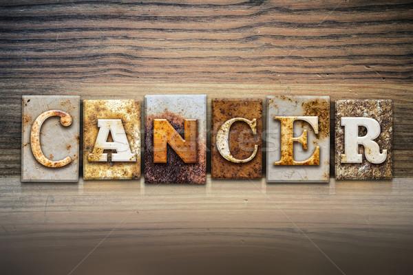 рак слово написанный ржавые металл Сток-фото © enterlinedesign