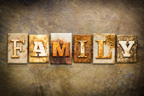 Family Concept Letterpress Leather Theme Stock photo © enterlinedesign