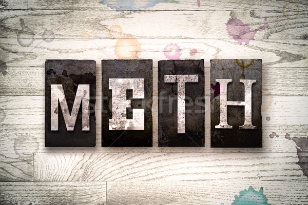 Meth Concept Metal Letterpress Type Stock photo © enterlinedesign
