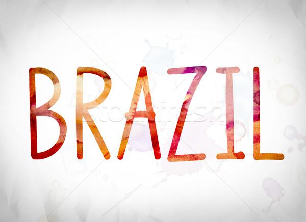 Бразилия акварель слово искусства написанный белый Сток-фото © enterlinedesign