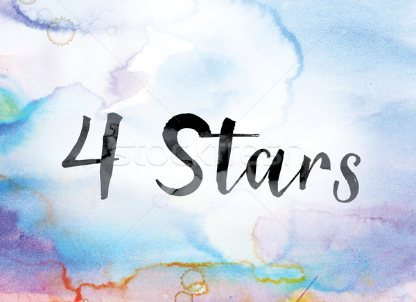 4 Stars Colorful Watercolor and Ink Word Art Stock photo © enterlinedesign