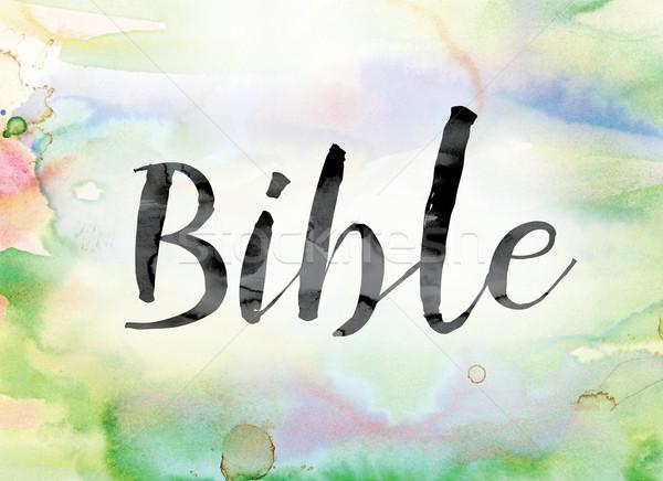 İncil renkli suluboya mürekkep kelime sanat Stok fotoğraf © enterlinedesign