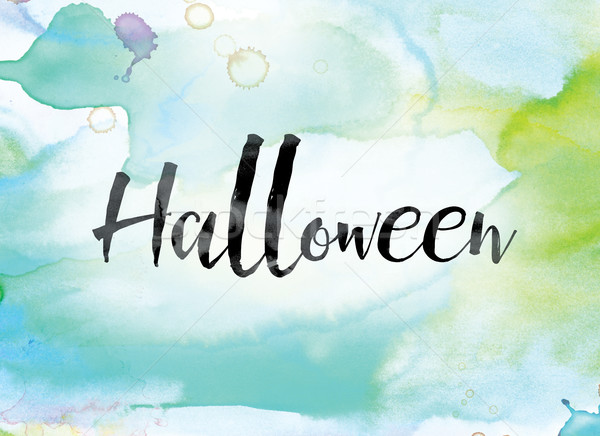 Halloween Colorful Watercolor and Ink Word Art Stock photo © enterlinedesign