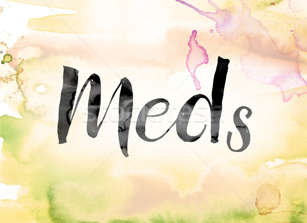 Meds Colorful Watercolor and Ink Word Art Stock photo © enterlinedesign