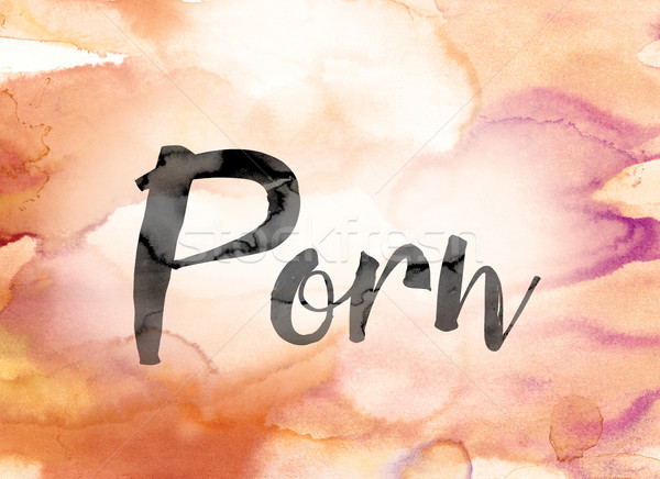 Porn Colorful Watercolor and Ink Word Art Stock photo © enterlinedesign