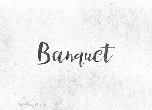 Banquet peint encre mot noir couleur pour aquarelle Photo stock © enterlinedesign