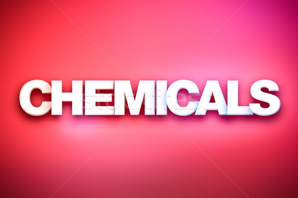 Kimyasallar kelime sanat renkli yazılı beyaz Stok fotoğraf © enterlinedesign