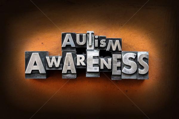 Autismus Bewusstsein Worte Jahrgang Buchdruck Typ Stock foto © enterlinedesign