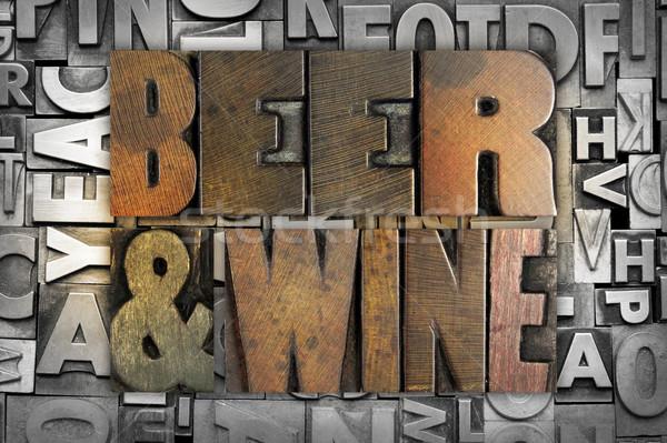 ストックフォト: ビール · ワイン · 単語 · 書かれた · ヴィンテージ
