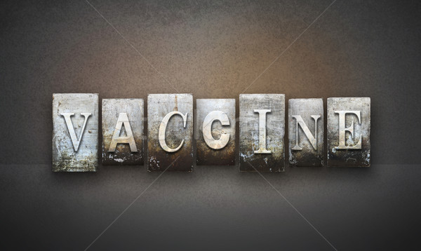 Impfstoff Buchdruck Wort geschrieben Jahrgang Typ Stock foto © enterlinedesign