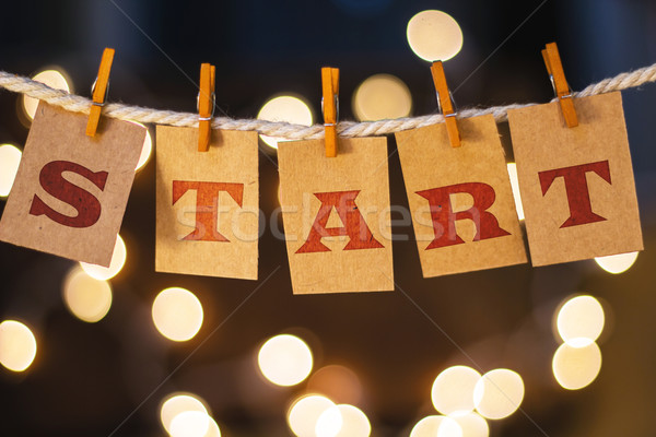 Start Concept Clipped Cards and Lights Stock photo © enterlinedesign