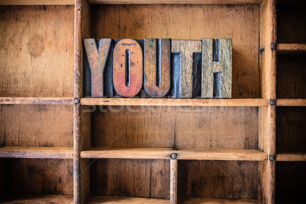 Youth Concept Wooden Letterpress Theme Stock photo © enterlinedesign