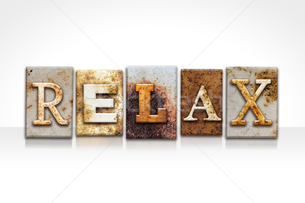 Relax Letterpress Concept Isolated on White Stock photo © enterlinedesign
